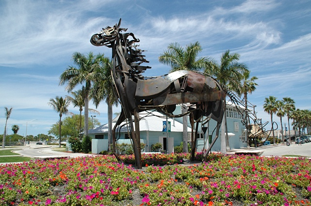 metal equine sculpture