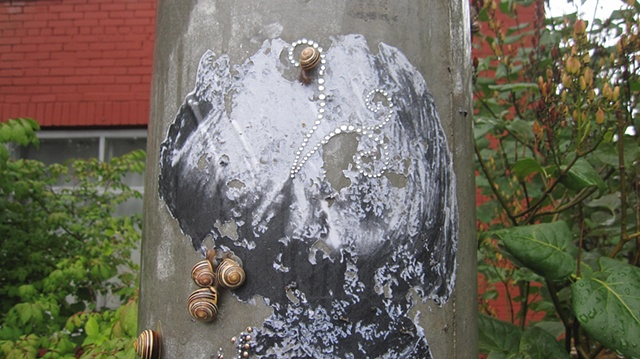 Paste-up, eaten by snails