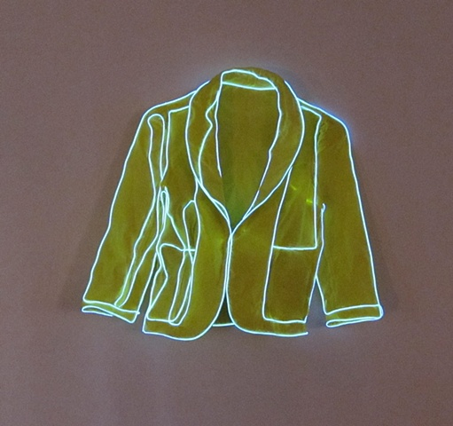 Jacket sewn with EL wire