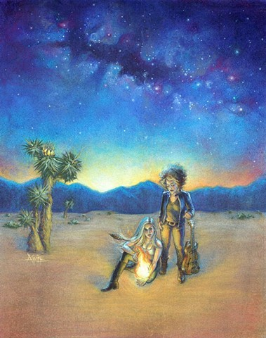 aimee kuester the ethers band music musicians fire audrey allison moshier pamela astrology tarot ether album art cover charcoal pastel desert epic sunrise stars galaxy milky way