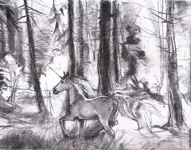 aimee kuester animal natural story fairy tale la charcoal pastel for sale drawing art artwork unicorn horse forest magic magical the last unicorn sketch concept regal beautiful animals beautiful for sale aimee artist