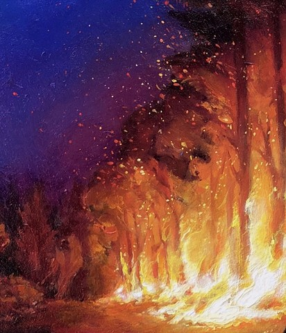inferno aimee kuester fire forest fire night sky painting eerie dark art oil full moon fires art