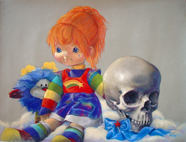 aimee kuester skull art artwork charcoal pastel rainbow brite sprite skull child childhood 80's cartoon gag me toon steven daily morbid pastel colorful original