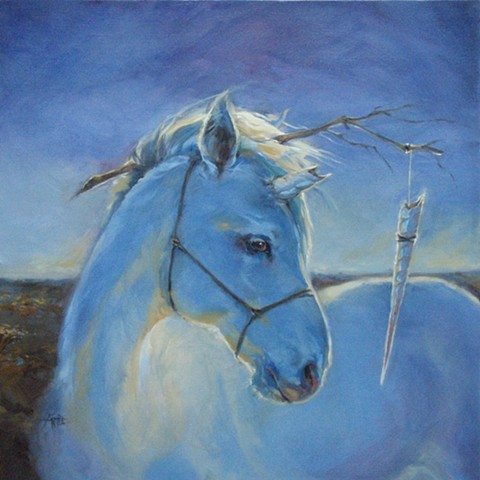 unicorn aimee kuester shadowland travesty blue oil painting sad captive prisoner dark art unicorns fantasy