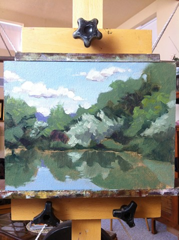 aimee kuester landscape NM new mexico shady lakes plein air sky lake for sale art painting oil