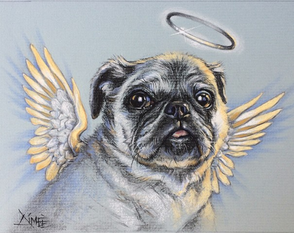 aimee kuester animal charcoal pastel for sale drawing art artwork pug dog life pet portrait heaven angel afterlife dog puppy pup travis louie frodo wings angelic custom dog lover regal beautiful animals beautiful for sale aimee a