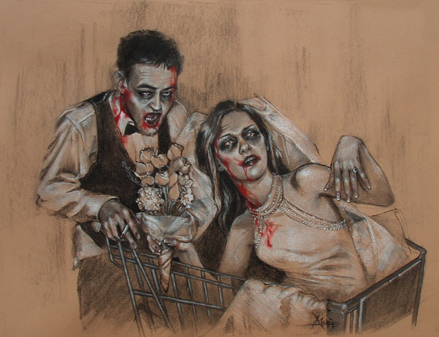 aimee kuester zombie commission portrait portraiture creepy dark art gory bloody dead walking dead art charcoal pastel