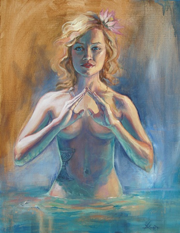 aimee kuester painting art artwork oil painting tarot colleen foy  water ace of cups pastel