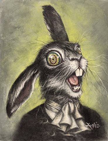 alice in wonderland march hare aimee kuester pastel drawing charcoal rabbit crazy insane mad lewis carrol wild eyes hare fairy tale character illustration childrens book