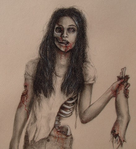 aimee kuester art artist los angeles la ca female artist aimée drawings paintings zombie gory bloody dark art portrait