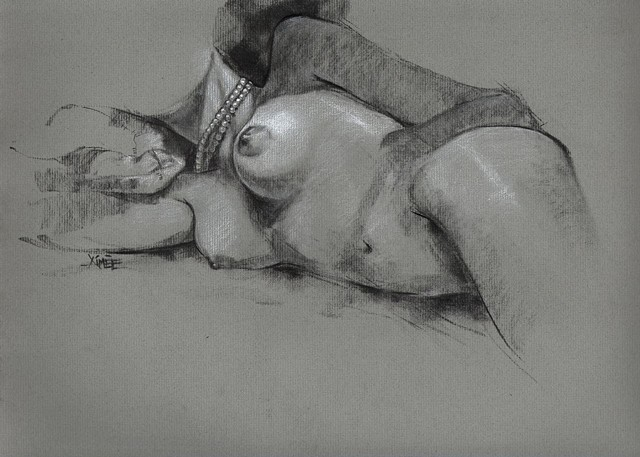 aimee kuester nude figurative original for sale art artwork boobs nudity feminine charcoal