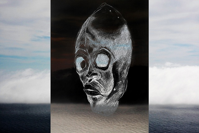 abstract surreal mask landscape digital photocollage