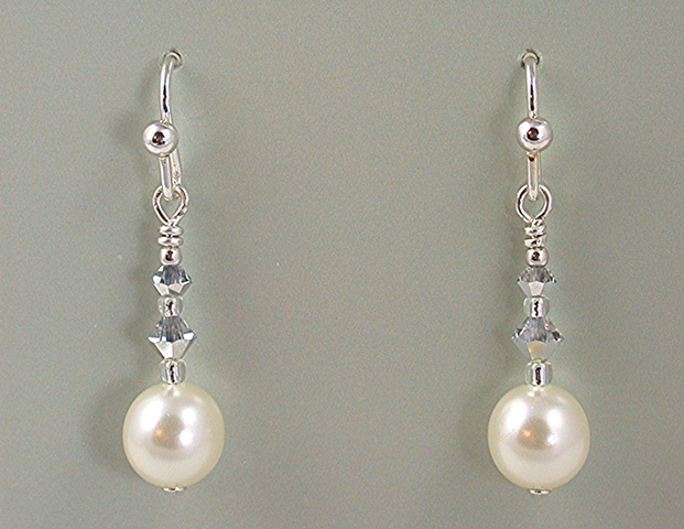 Glass Pearl & Crystal Earrings