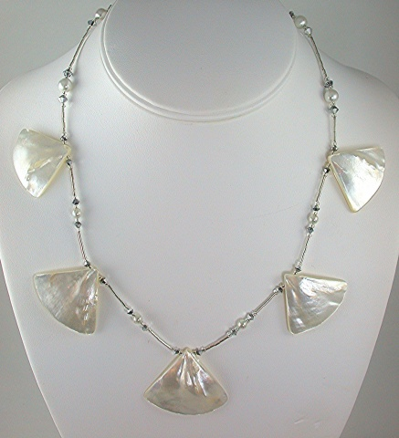 Five Shell, Pearl & Crystal Necklace