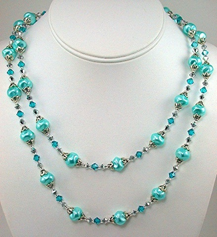 Aqua Swirl Pearls and Swarovski Crystal