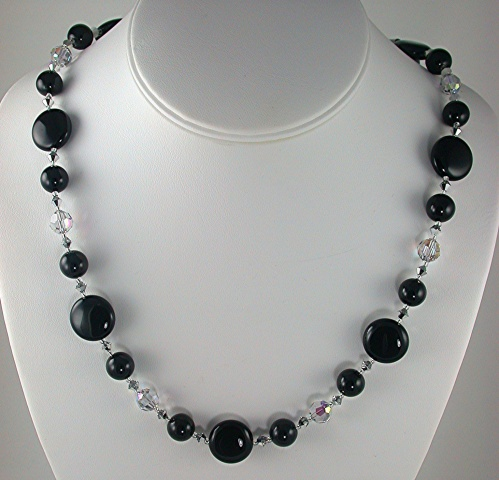 Onyx Coins with Swarovski Crystal