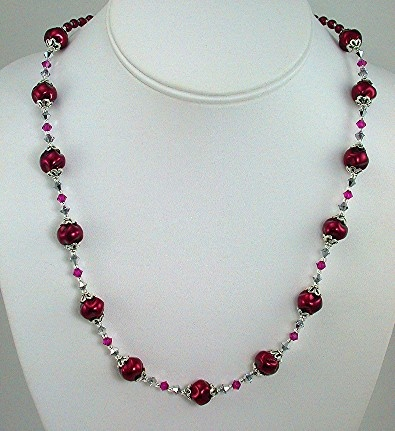 Burgandy Swirl Pearls with Swarovski Crystal