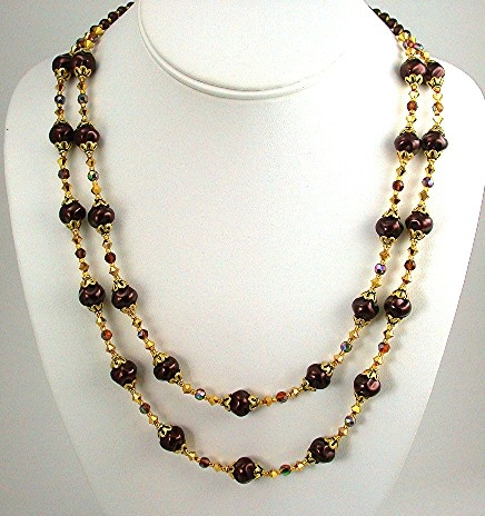 Chocolate and Gold Swirl Pearls