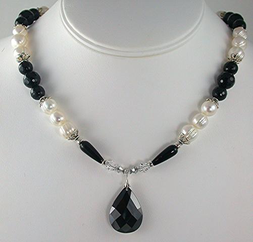 Jet Cubic Zirconia Pendant  with Pearls