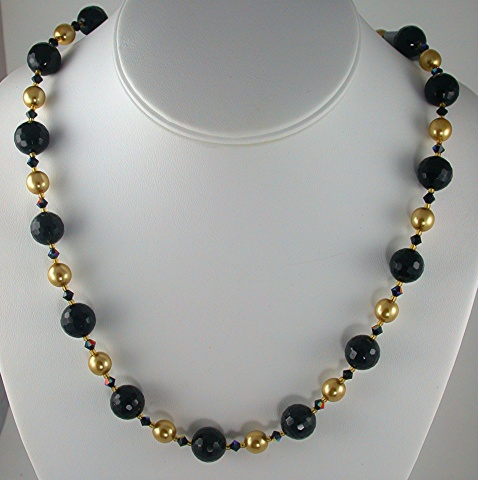 Onyx  & Gold Pearls