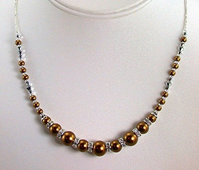 Bronze pearls with Crystal