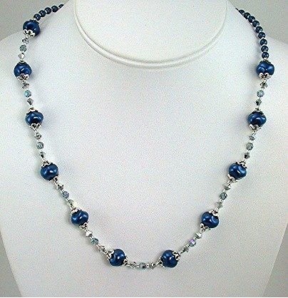 Royal Blue Swirl pearls and Swarovski Crystal