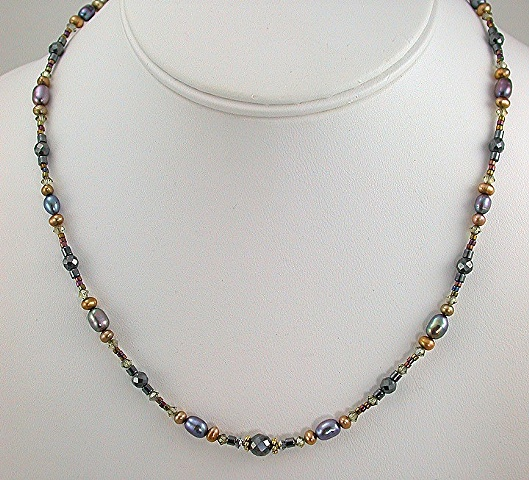 Hematite, Crystal, Vermeil, and Freshwater Pearl Necklace