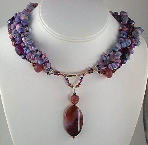 Plum Agate Pendant Necklace.