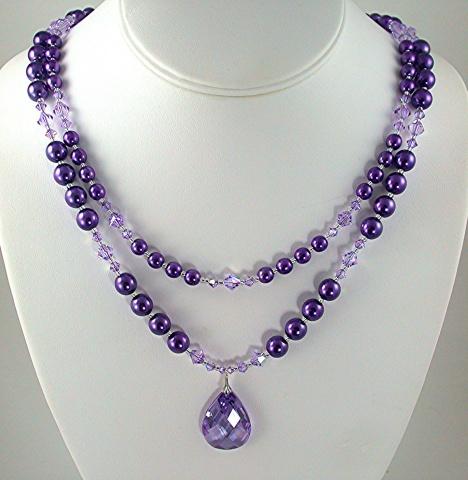 Wisteria Pearls & Lavender Cubic Zirconia