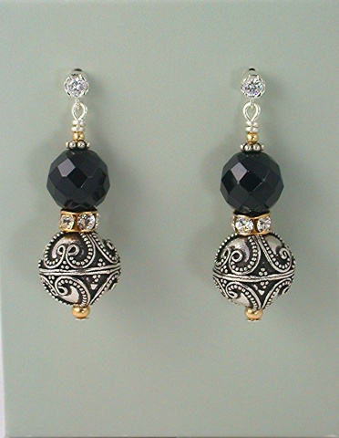 Faceted Onyx and Bali Silver Earrings