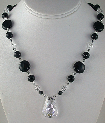 Crystal Cubic Zirconia on Onyx & Swarovski Crystal