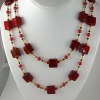 Indian Red Murano Glass with Pearl & Crystal