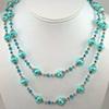 Aqua Swirl Pearls and Swarovski Crystal