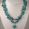 Heart with Turquoise, Crystal & Keishi Pearls