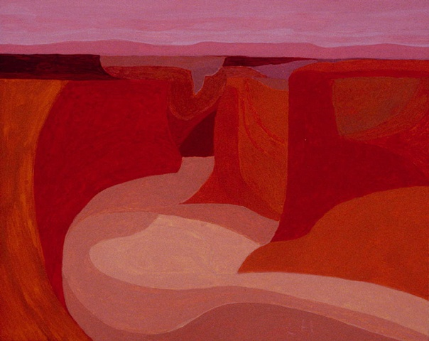 gouache on panel, Canyon de Chelly by Laura Hampton