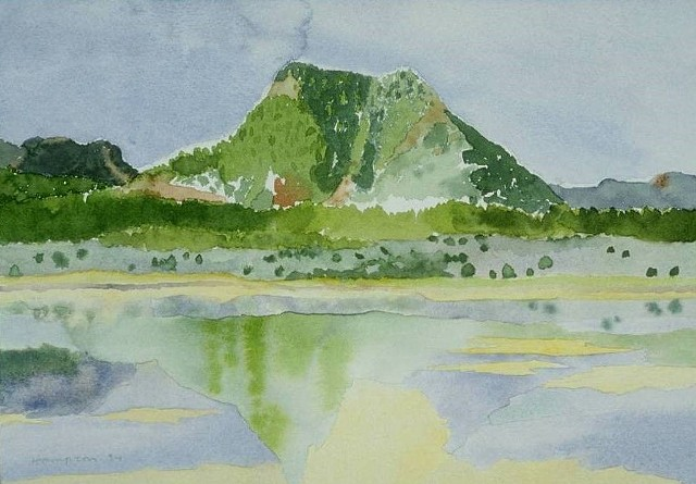 watercolor of Southwest Mountains in Landscape by Laura Hampton