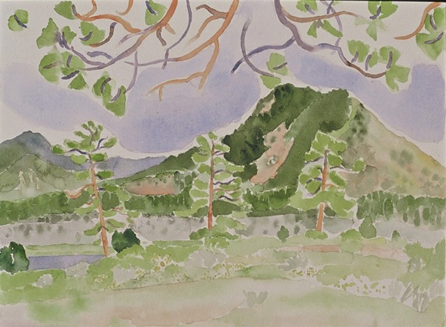 watercolor of Southwest Mountain Landscape by Laura Hampton