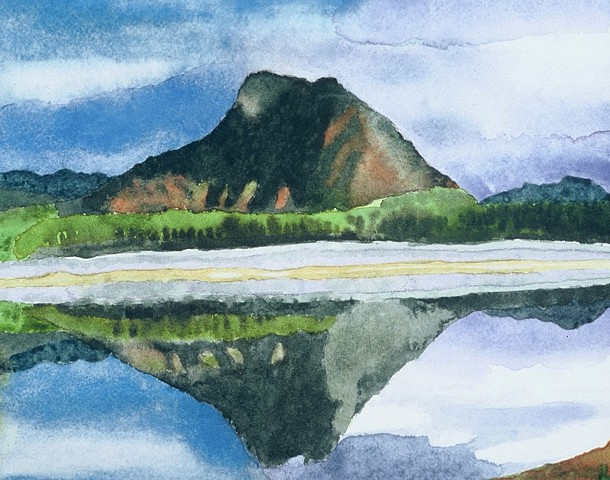 watercolor of Southwest Mountains and Landscape by Laura Hampton