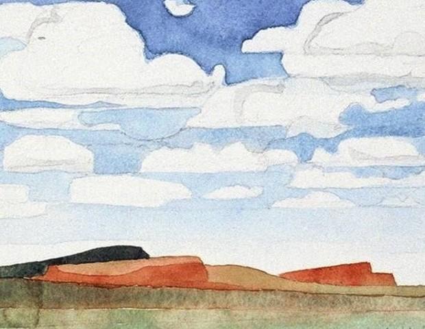 watercolor of Rock Point, Arizona, Southwest Landscape by Laura Hampton