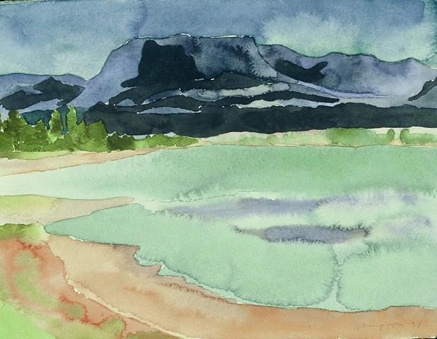 watercolor of Southwest Mountain Landscape by Laura Hampton