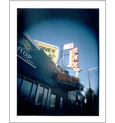 R-R Lounge sign Colfax Avenue Denver CO colorado polaroid Holgaroid