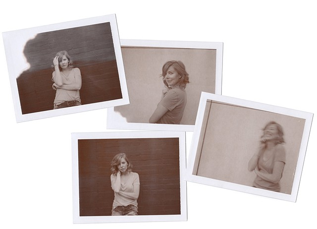 Shayna Rose, polaroid, expired polaroid, chocolate, B&W, black and white, portrait, musician, songwriter, actress
