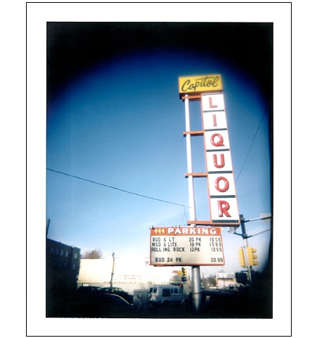 Captiol Liquor sign Colfax Avenue Denver CO colorado polaroid Holgaroid