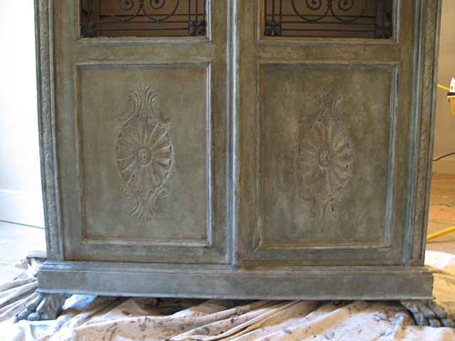 Glazed and distressed cabinet