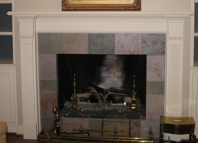 Before photograph of mantel to be painted to resemble yellow pine