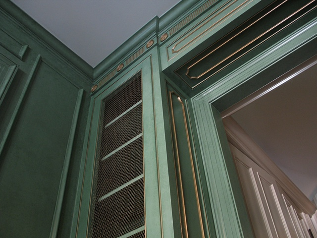 Two color glaze finish with gilt details