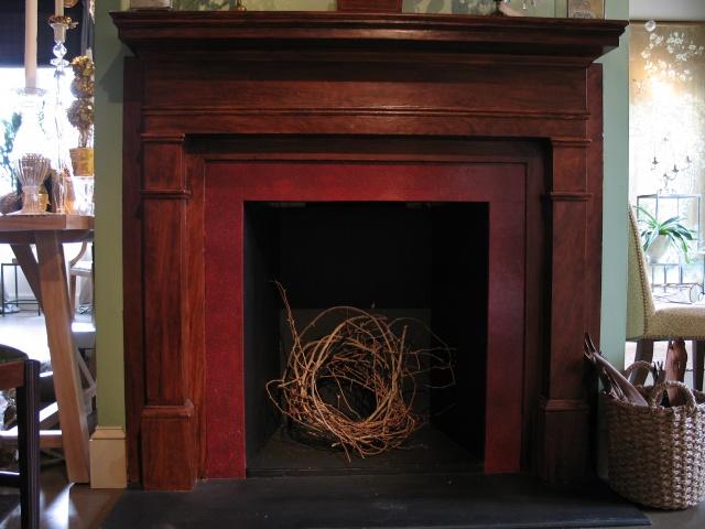 Detail faux mahogany mantel