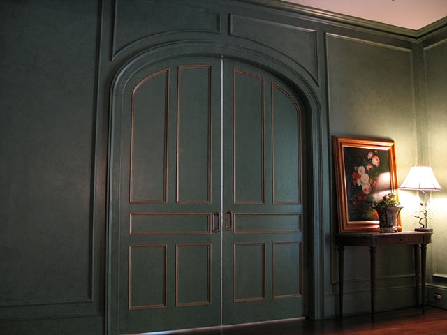 two color glaze finish with gilt trim