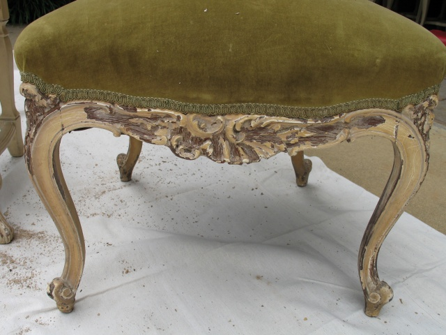 Antique chair before repair and reglazing
