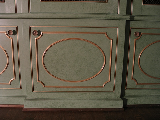 two color glaze finish with gilt trim